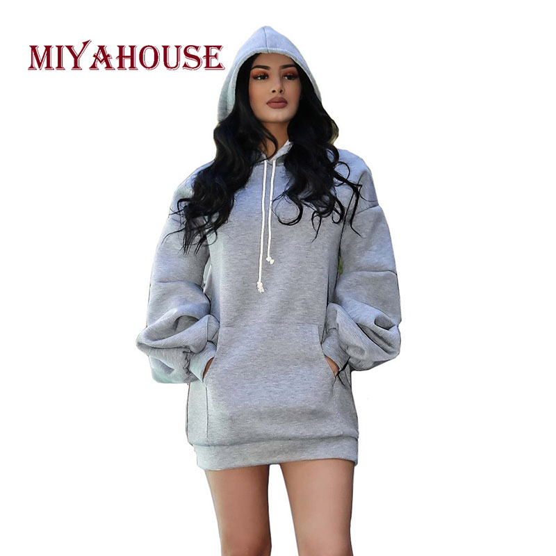 Miyahouse Pocket Hooded Collar Women Sweatshirt Solid Color Casual Large Size Loose Autumn Winter Hoodies Pullovers For Female