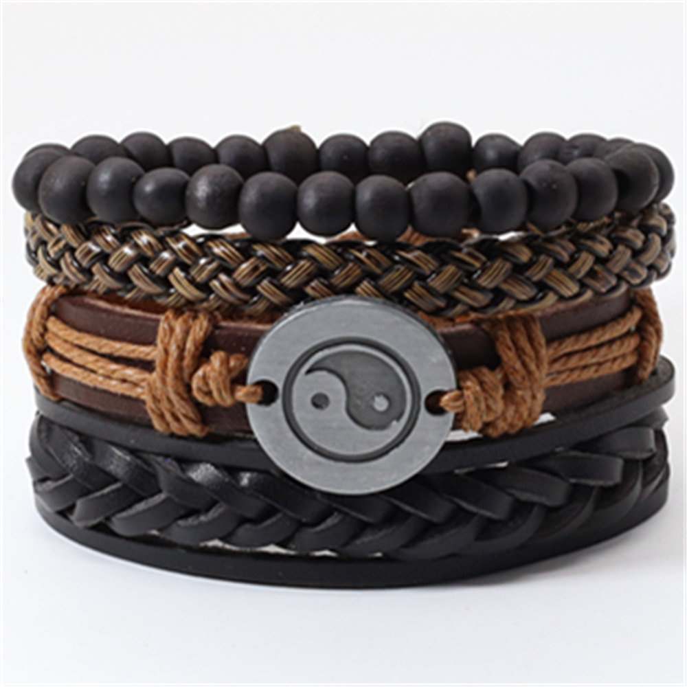 Taichi Khaki Black Beads Wristband Multilayer Leather Bracelets Set Men Bracelets Women Homme Fashion Jewelry Accessories