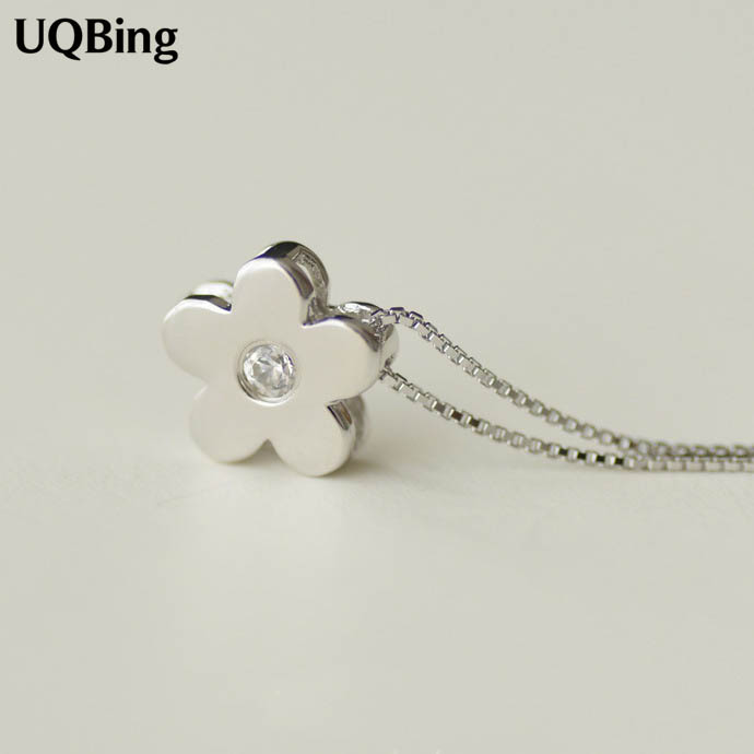 925 Sterling Silver Necklaces Pure Sterling Silver Flower Pendant Necklace Jewelry Collar Colar de Plata