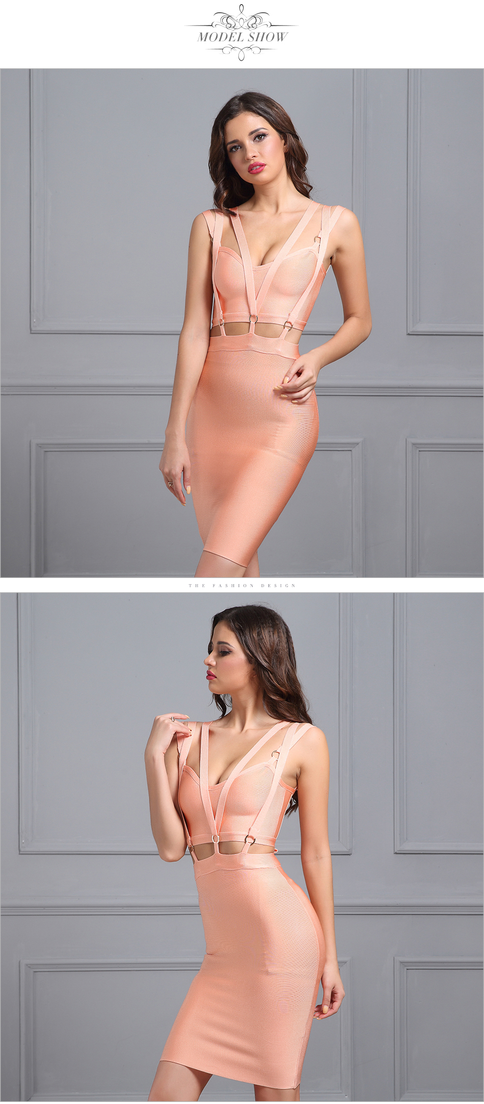 Adyce 2017 New Women Summer Mini Bandage Dresses Sexy V Neck Sleeveless Vestidos Pink Hollow Out Celebrity Evening Party Dress 5