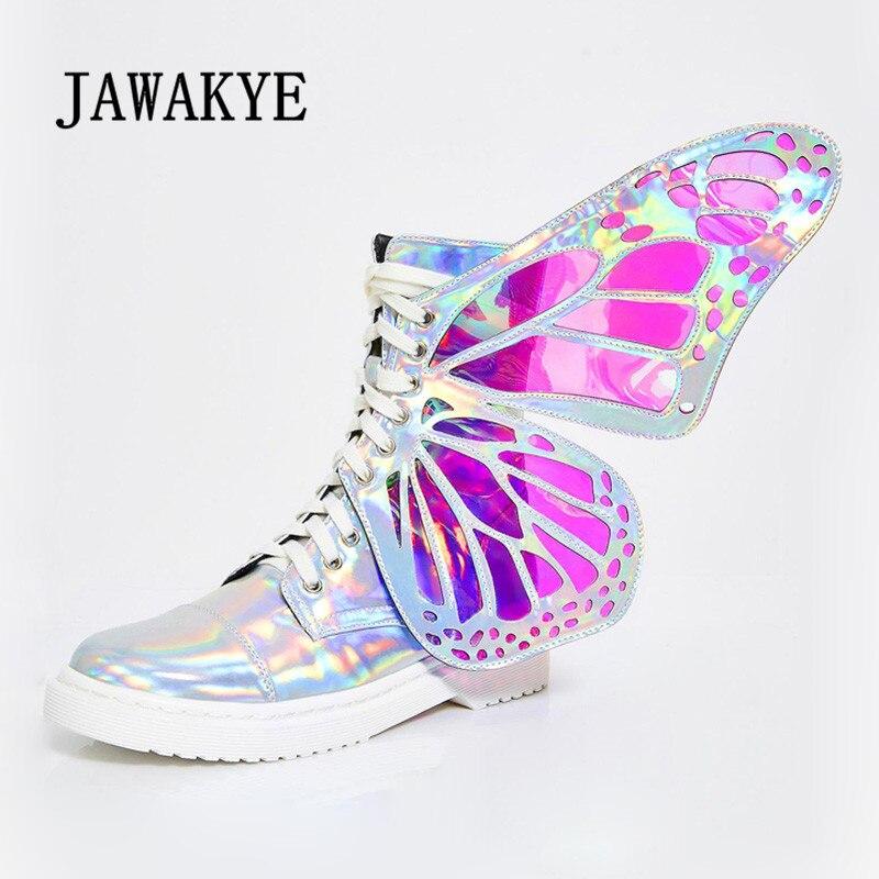 سحرية جميلة فراشة أجنحة حذاء من الجلد النساء الدانتيل يصل الجانب سستة الأزياء ارتداء أحذية بالغت طرفة شقة أحذية بوت قصيرة-في أحذية الكاحل من أحذية على  مجموعة 1
