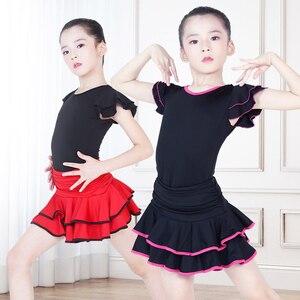 Image 3 - Children Latin Dance Dress V neck Short Sleeve Suit Dance Practice Clothes Girls Latin Dance Skirt