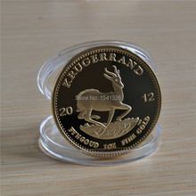 Free Shipping Wholesale 50Pcs/LOT 1OZ FINE GOLD-Plated Cold Coin. South Africa Krugerrand Year 2012 copy coin,souvenir gold coin