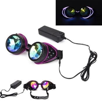 74b50b739a FLORATA Steampunk gafas soldadura Cyber iluminado Punk gafas Retro gótico  caleidoscopio colorido lente Cosplay gafas