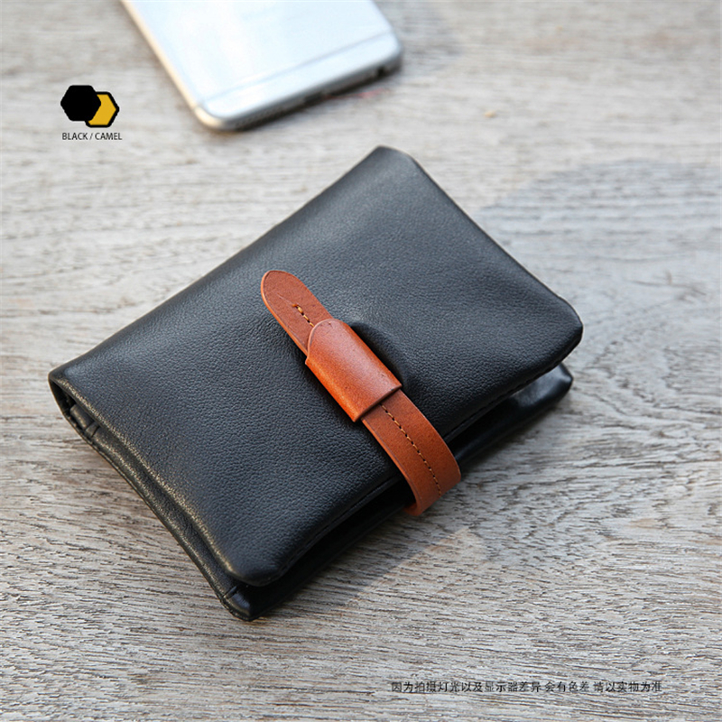 Mens Genuine Leather Wallet Mens Leisure Slim Soft Leather Wallet Purse Male Credit Card Coin Photo Holder Casual Bifold Purse