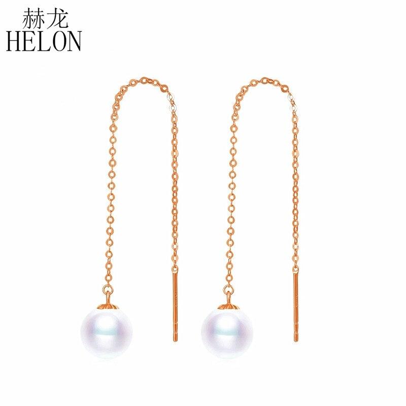 HELON Au750 18 k or dangle boucle d'oreille avec 7-7.5mm naturel rond haut lustre perle longue chaîne gland conception boucle d'oreille pour les femmes