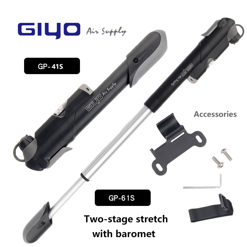 Bike Pump GIYO GP-41S/61S Made In Taiwan Pressure Gauge  Mountain Mini Bicycle Air Pump Cycling Accessories  (A/V) (F/V)