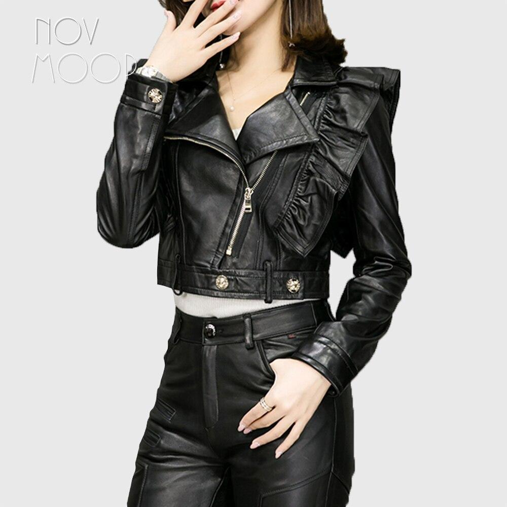 Volant disegno di cuoio nero genuino giacche di pelle di pecora agnello moto biker cappotti giacca jaqueta de couro chaqueta mujer LT1875-in Pelle e scamosciato da Abbigliamento da donna su  Gruppo 1