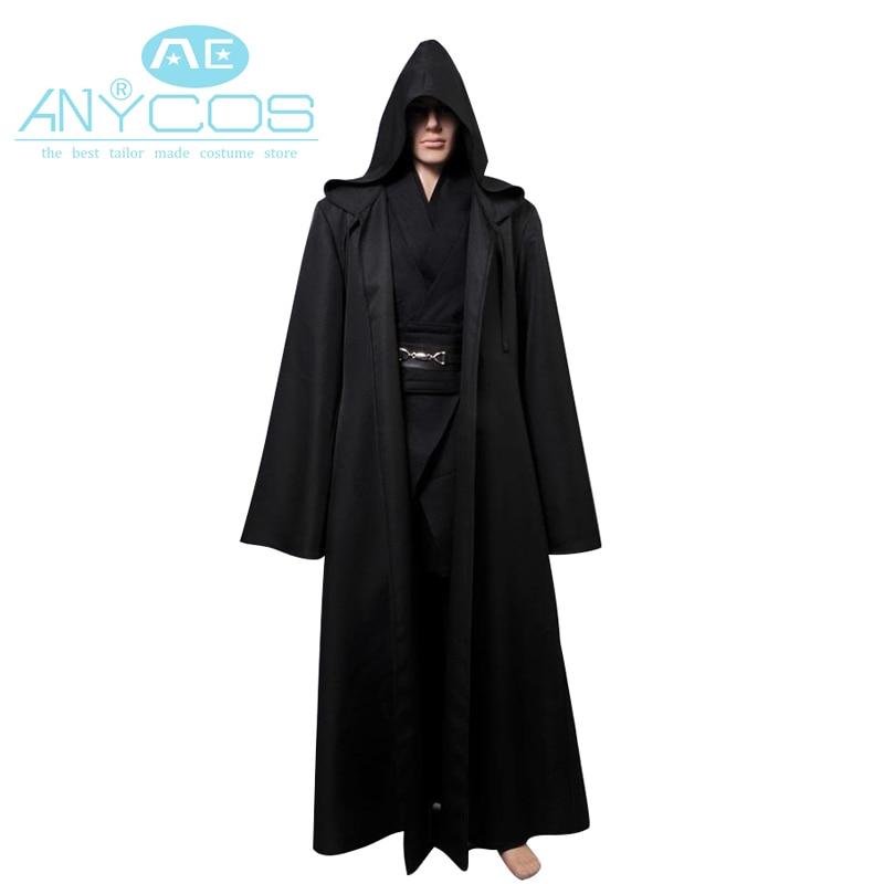Gwisg Star Wars Anakin Skywalker Gwisg Darth Vader Gwisg Ddu Fersiwn Du Oedolion Dynion Robe Cloak Set Gyflawn Gwisg Cosplay Calan Gaeaf
