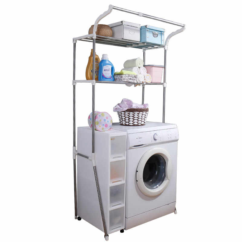 2-Tier Laundry Washing Machine Shelf Over Toilet Storage Rack Bathroom Organiser Stand Stainless Steel DQ5021-2