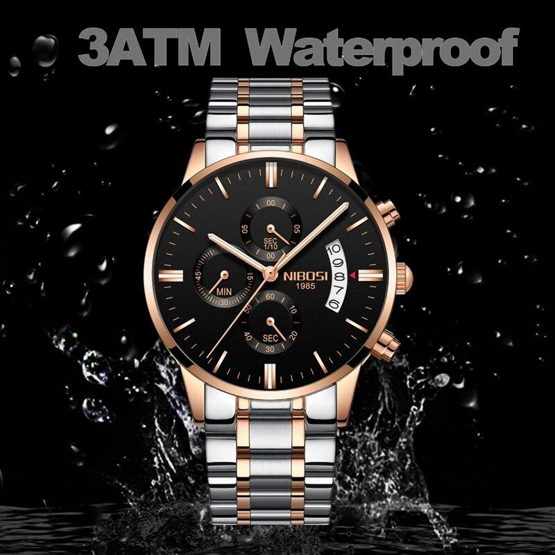 NIBOSI Men Watch Chronograph Sport Mens Watches Top Brand Luxury Waterproof Full Steel Quartz Gold Clock Men Relogio Masculino 2