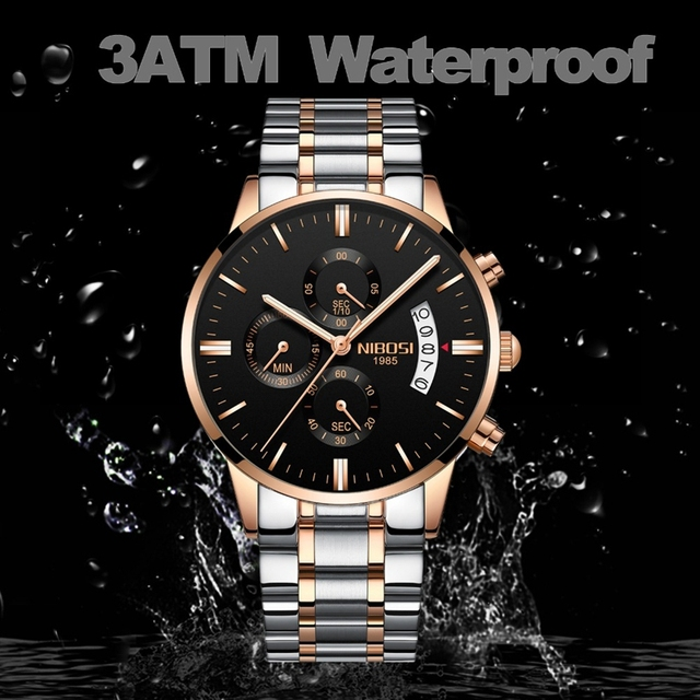 NIBOSI Men Watch Chronograph Sport Mens Watches Top Brand Luxury Waterproof Full Steel Quartz Gold Clock Men Relogio Masculino 2
