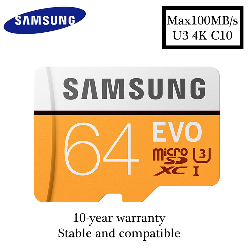 Original Samsung microsd 64GB max100MB/S Class10 Memory Card SDXC U3 4K cartao de memoria TF Card for Smartphone Tablet etc ...