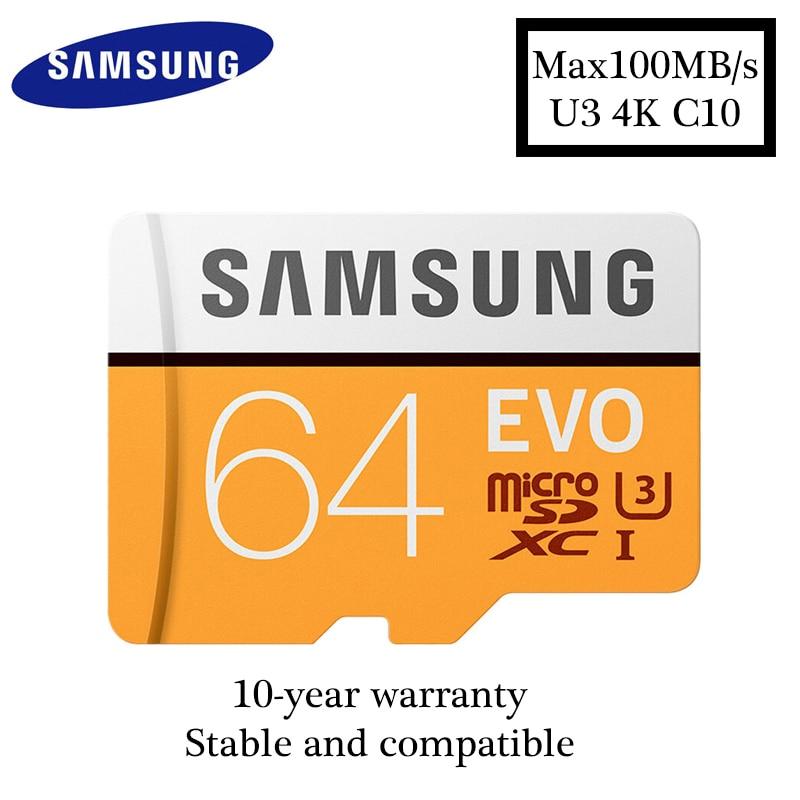 Original Samsung microsd 64GB max100MB/S Class10 Memory Card SDXC U3 4K cartao de memoria TF Card for Smartphone Tablet etc ...