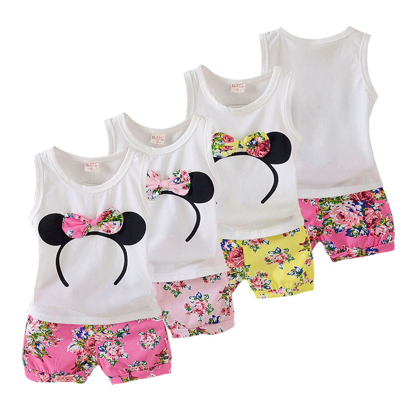 Cartoon Summer Baby Girl Clothing Sets Infant Clothes Outerwear Fashion Casual Newborn Baby Girls Suit Bow Cotton Cloth 2018