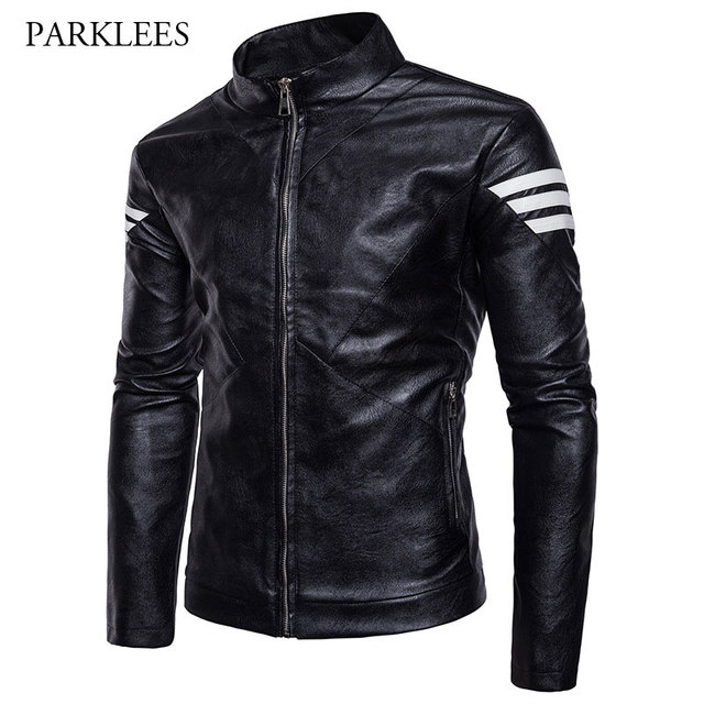 Cool Black Motorcycle Leather Jacket 2017 Brand Winter Men's ...