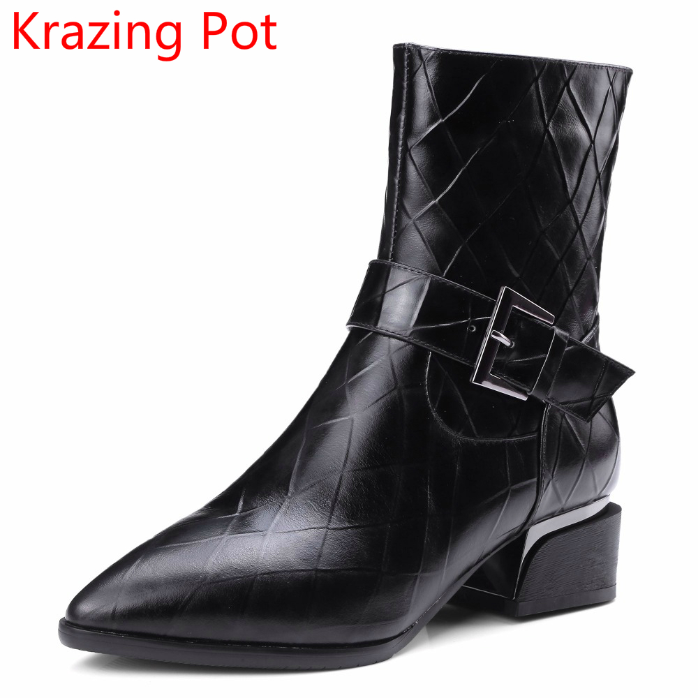 2018 Genuine Leather Winter Boots Woman Handmade Thick Heels Buckle Motorcycle Boots Fashion Nightclub Metal Mid-Calf Boots L05 mabaiwan handmade rivets military cowboy boots mid calf genuine leather women motorcycle boots vintage buckle straps shoes woman
