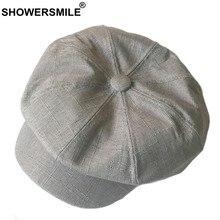 47a7f6514 SHOWERSMILE ropa de mono de las mujeres sólida Vintage tapa octogonal  Hombres estilo británico pintor sombrero gris caqui otoño .
