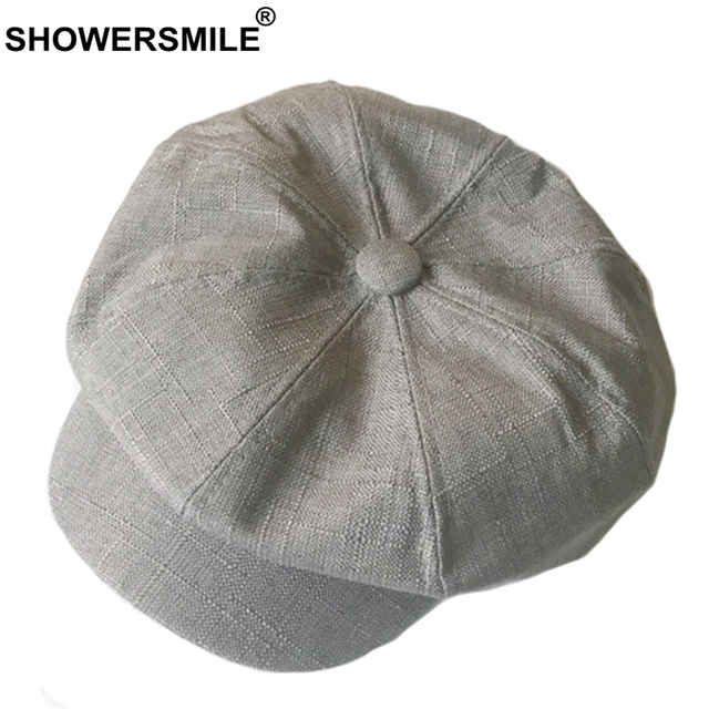 89fd7aa3bb2d0 SHOWERSMILE Linen Newsboy Cap Women Solid Vintage Octagonal Cap Men British  Style Painter Hat Grey Khaki Autumn Caps And Hats