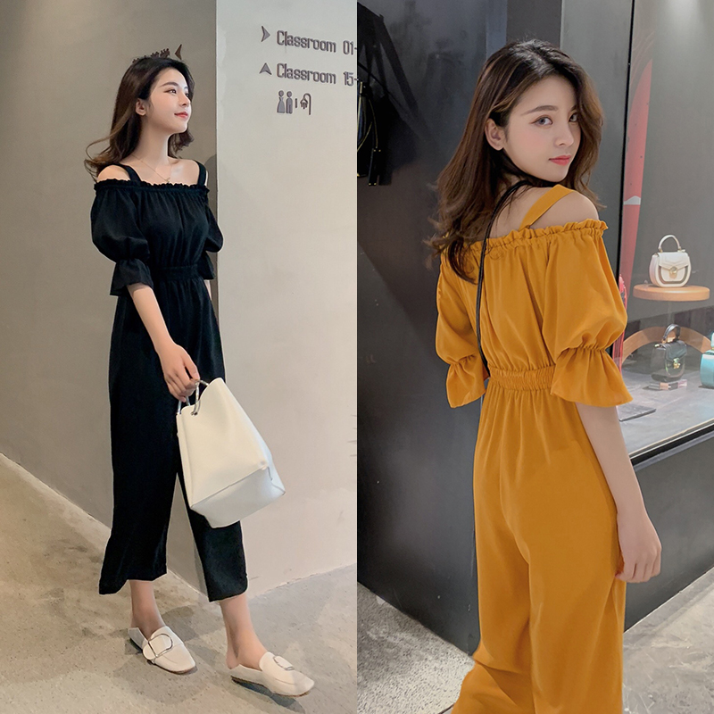 Women's Clothing 2019 Summer New Sexy Bohemian Style Spaghetti Strap Helf Sleeve High Waist Sling Long Beach Wide Leg Jumpsuit 1