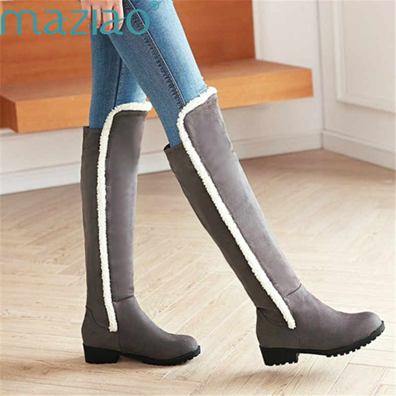 clear and distinctive hot-selling shop Fashion Women Winter Boots Warm Fur Snow Boots Tall Boots Thick Heels Long  Boots Plush Shoes Round Toe Boots MAZIAO