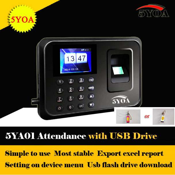 US $35 89 10% OFF|5YOA with usb drive flash Biometric Fingerprint Time  Clock Recorder Attendance Employee Machine Punch Card ID Reader System-in