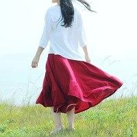 Runback 2017 Fall Women Skirt Large Linen Brand Multicolor Ealstic Waist Japanese Mori Girl Jupe Longue