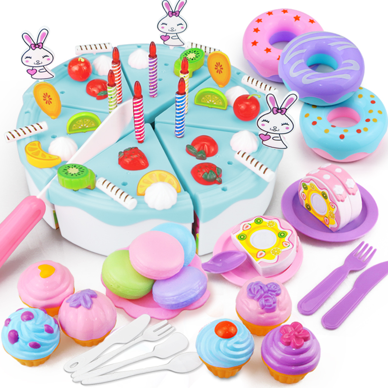 46-67PCS Pretend Play Birthday Cake Cutting Fruit Toy DIY Kitchen Food Cocina De Juguete Play House Gift For Children Kids Girl