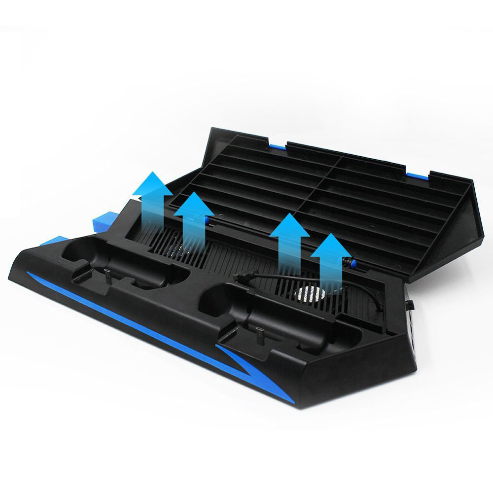 2018 Vertical Stand Cooling Fan Controller Charging Station with Game Storage and Dualshock Charger For PS4 A.23 mutilfunction ps4 cooler playstation 4 cooling fan vertical stand for ps4 playstation 4 console cooler with charging station