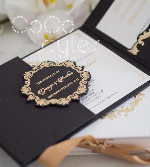 Cocostyles Diy Vintage Black Trifold Hardcover Wedding Invitation