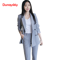 Dunayskiy Women Work Fashion Pant Suits 2 Piece Set Office Lady Striped Double Breasted Blazer Jacket and Trousers Work Wears