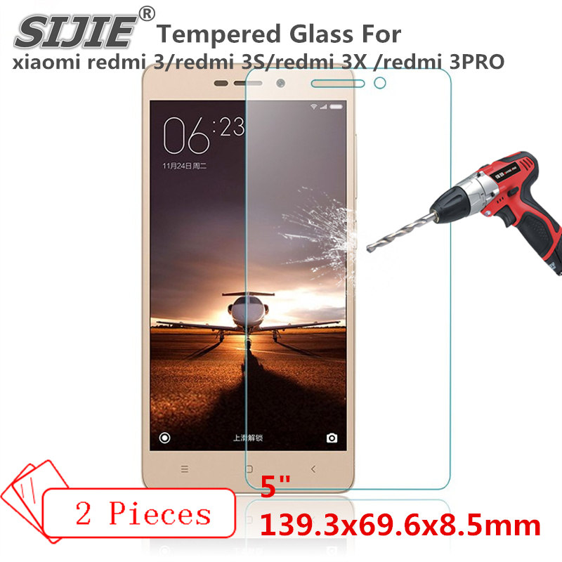 2PCS Tempered Glass For xiaomi redmi 3 3S 3X 3PRO cover PRO redmi3 redmi3S redmi3X Screen protective 5 inch smartphone toughened in Phone Screen Protectors from Cellphones Telecommunications