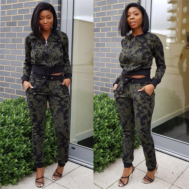 New Fashion Women Autumn Winter Long Sleeve Tracksuit Ladies Camouflage Printed Sport Suit Female Casual Clothing Sets