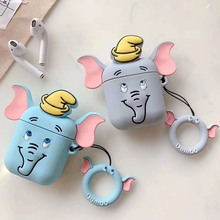 For AirPods Case Cute Cartoon Elephant Earphone Cases For Apple Airpods Funny Accessories Protect Cover with Finger Ring Strap