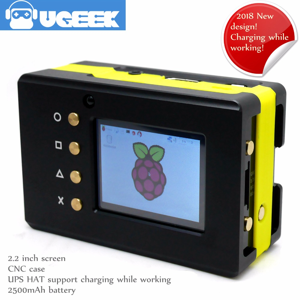 UGEEK Métal Portable Boîte Kit avec batterie | Écran En Alliage D'aluminium CNC Cas + 2.2 pouce + UPS CHAPEAU + batterie | Framboise Pi 3 Modèle B/3B +/2B