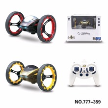Mini RC Jumping Boucing Car 2.4GHz 4WD RC Bounce Car with Retractable Wheels Spin 360 Degree LED Light Remote Control Robot Car
