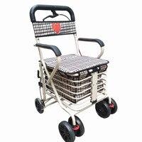 Складная корзина для старых человек может быть выдвинут или сидеть тележка на два BrakesTwo переднего колеса крупные торговые тележки
