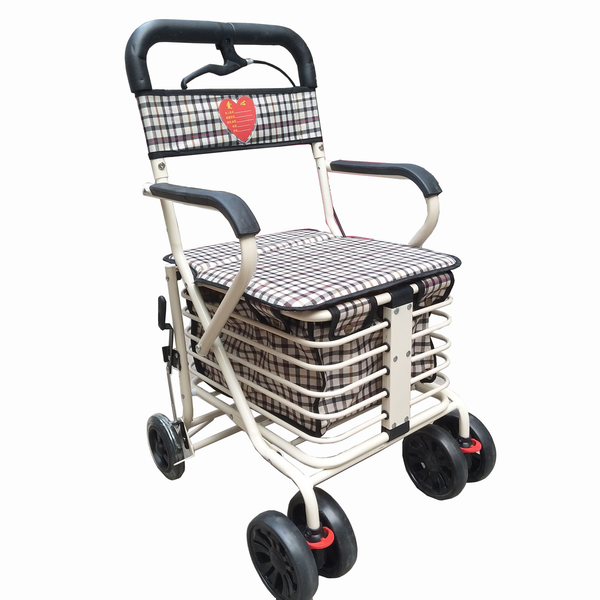 Foldable Shopping Cart For Old Man Can Be Pushed Or Sit Trolley Two BrakesTwo Front Wheel Large Shopping Trolley