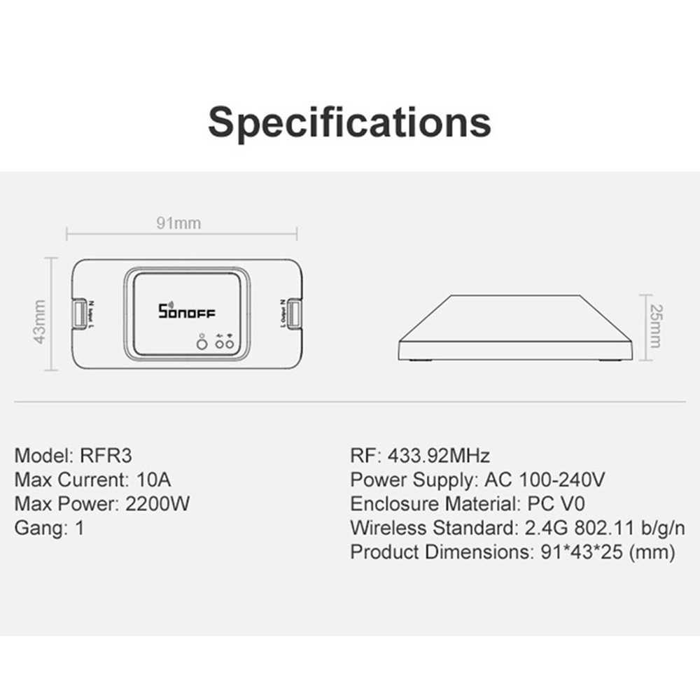 SONOFF $433 Mhz RFR3 inteligente de Control de RF WIFI 100-240 V de Ewelink APP de automatización trabaja con control de voz a casa
