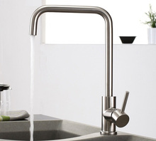 Free shipping SUS304 Stainless Steel Casting Lead-free Kitchen Mixer Tap Faucet Cold&Hot Water, SATIN NICKEL 303