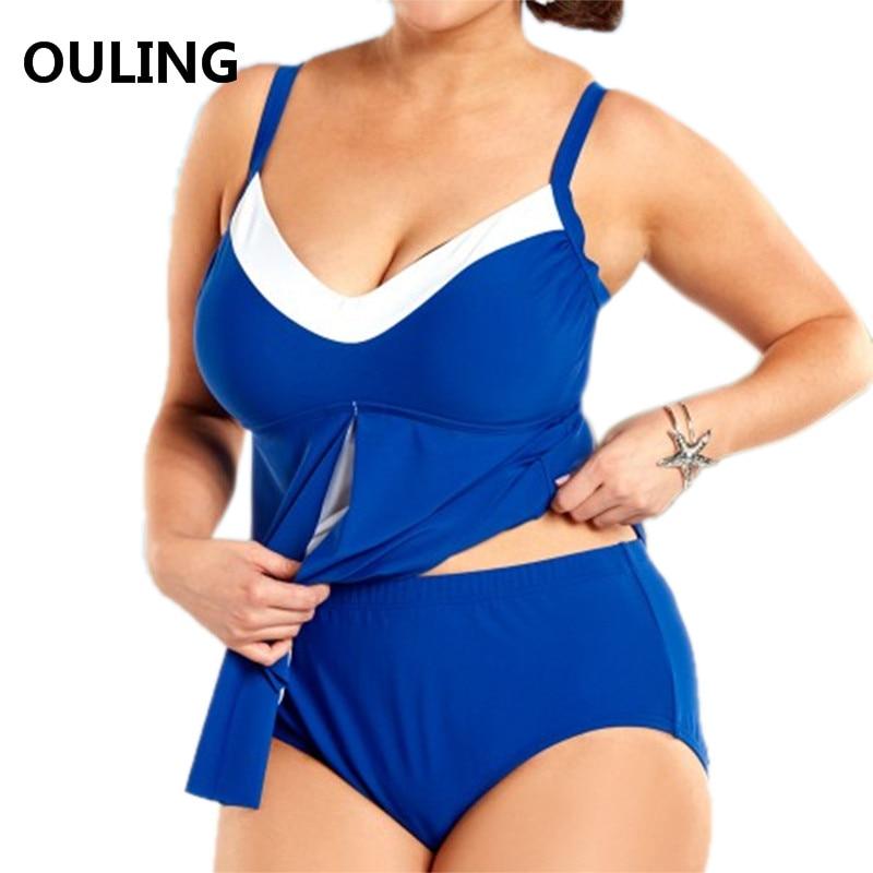 OULING New Patchwork Swimwear Plus Size Tankini Set Blue Two Pieces Bathing Suit Push Up Bikini 6XL Beach Wear Big Swimsuit