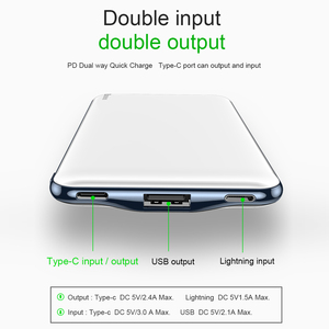 Image 4 - Baseus 10000mAh PD Quick Charge Power Bank 3A Fast Charging Ultra Slim Power Bank USB Type C Charger for iPhone X 8 7 Xiaomi MI