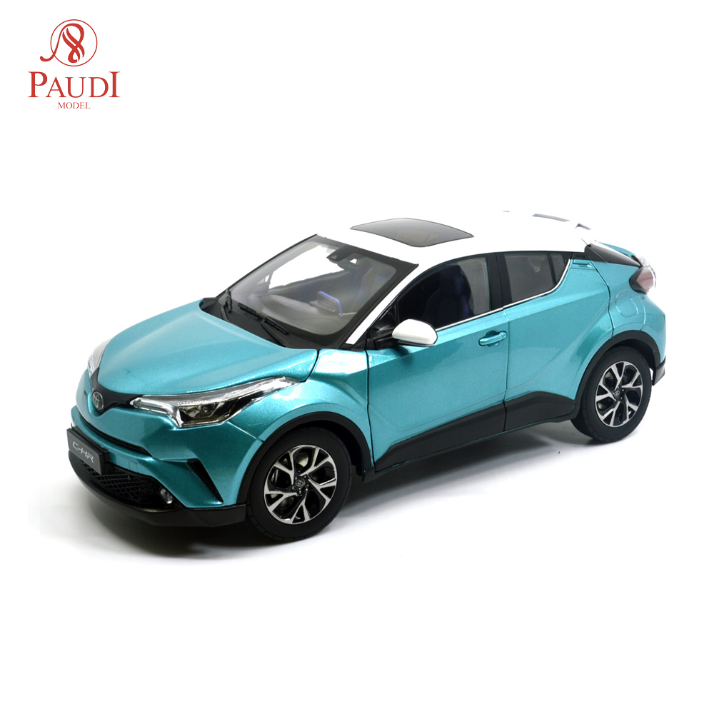 Paudi Model 1/18 1:18 Scale Toyota C-HR CHR 2019 Blue-White SUV Diecast Model Car Toy Model Car Doors Open