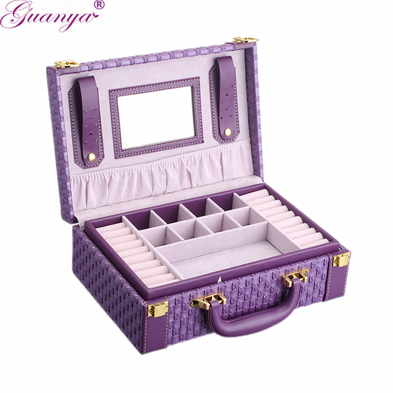 Guanya Portable Braided Pattern Necklace Jewelry Storage Packaging Box Necklace Rings Earrings Organizer Case For Girls