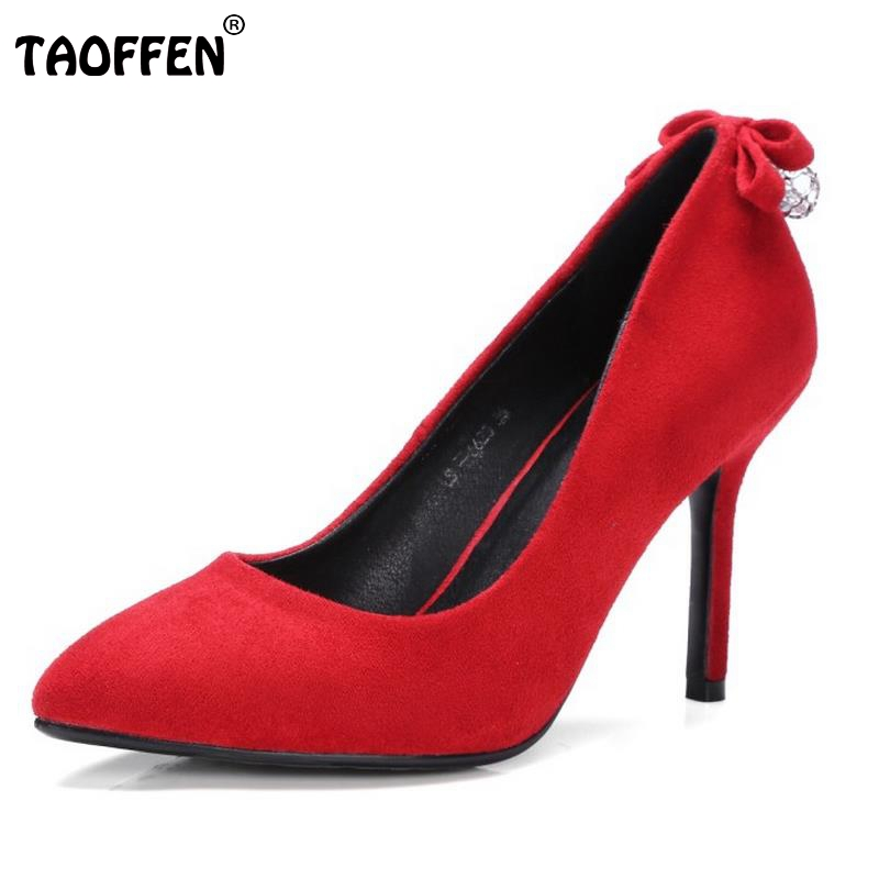 Size 32-42 Women High Heel Shoes Ladies Sweet Bowknot Pumps Pointed Toe Party Woman Thin Heels Footwear Stiletto Footwear bowknot pointed toe women pumps flock leather woman thin high heels wedding shoes 2017 new fashion shoes plus size 41 42