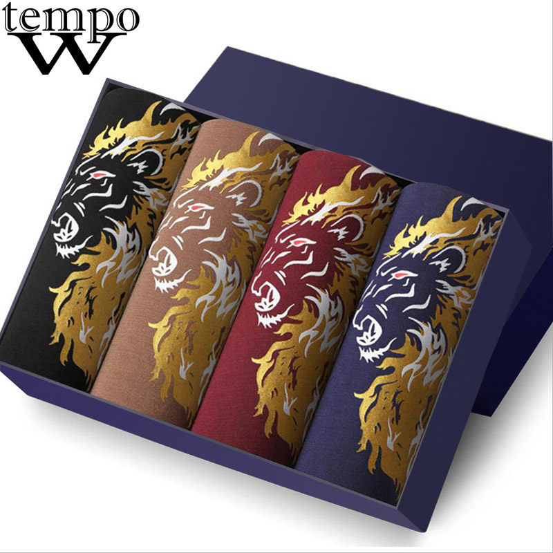 WTEMPO Brand Boxers Men's Sexy Underwear Modal Printed Funny Boxer Shorts Homme Cuecas Underpants Fashion Lion Boxer 4 Pcs/lot