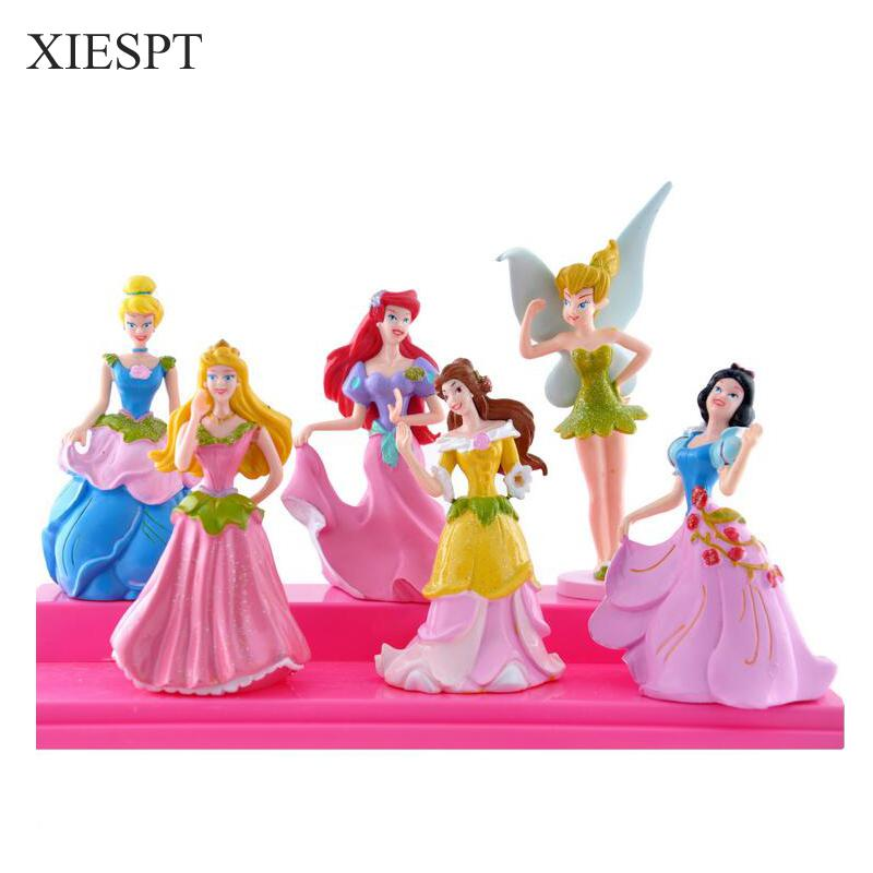 XIESPT Cartoon toys Princess Ariel Snow White model flower fairy dolls ornaments pvc flower elf doll 6pcs/set Free Shipping cars cars moving in stereo the best of the cars 2 lp
