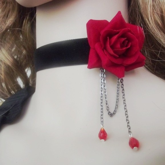 Gothic lolita jewelry red black rose crystal beads fashion women chokers necklaces cosplay vampire vintage collar accessories