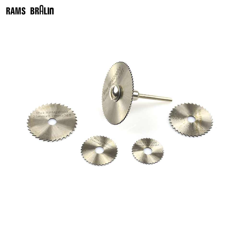 HSS Circular Saw Blades Cut-off Slice Mini Cutting Disc 5 Pieces + 3mm Mandrel For Dremel Die Grinder