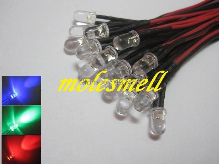 Free Shipping 500pcs 5mm 5v Red/blue/green Rgb Fast Flashing Flash LED Light Set Pre-Wired 5mm 5V DC Wired Blinking Rgb Led